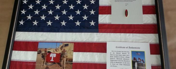 Framed USA Flag with Memorabilia!
