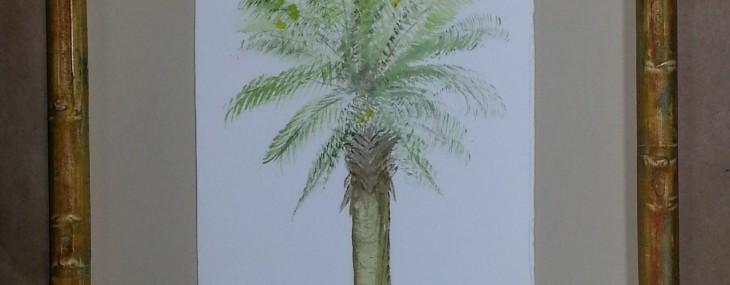 Framed Palmetto Tree Watercolor