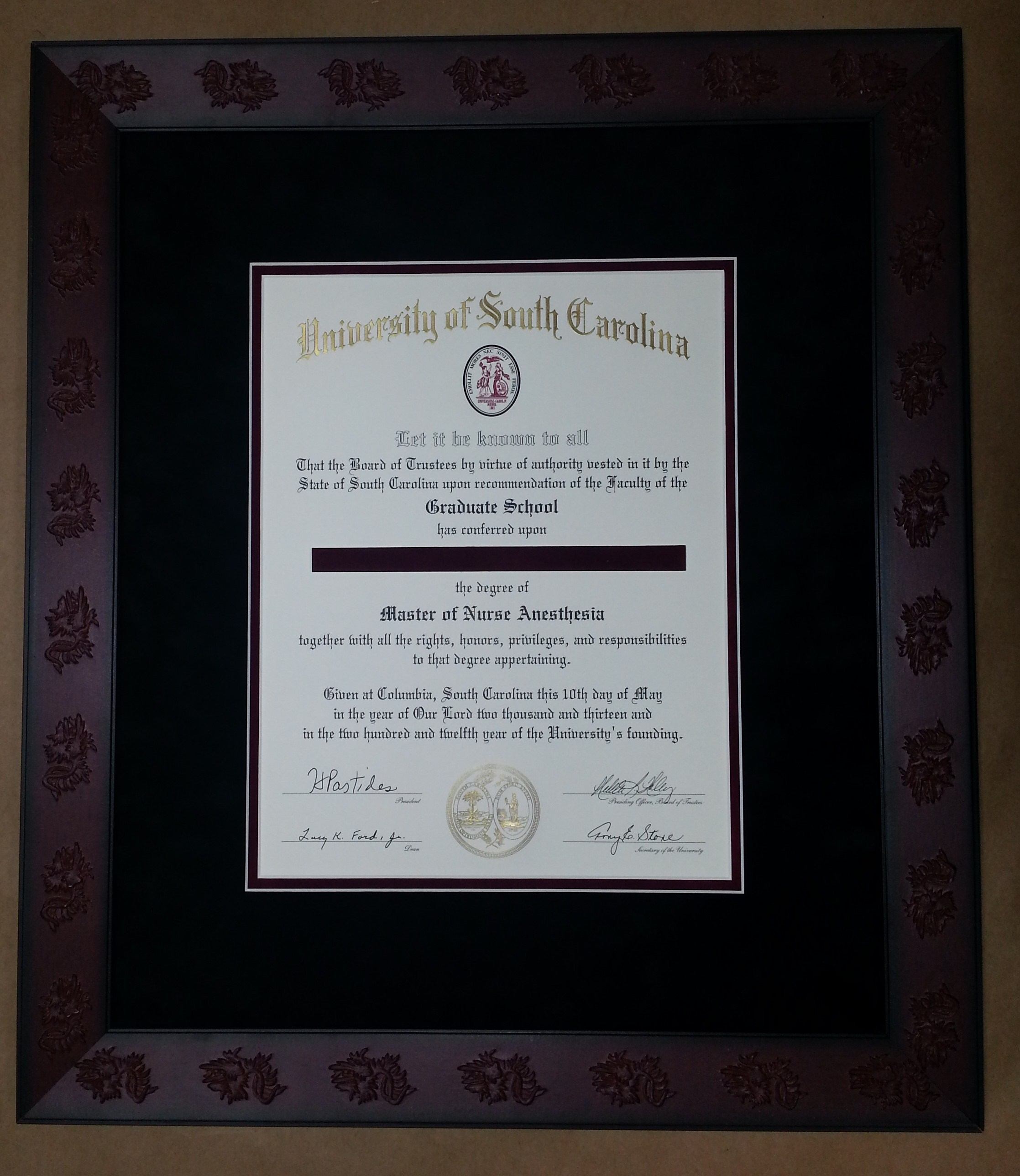 Usc Diploma In Gamecock Frame Columbia Frame Shop