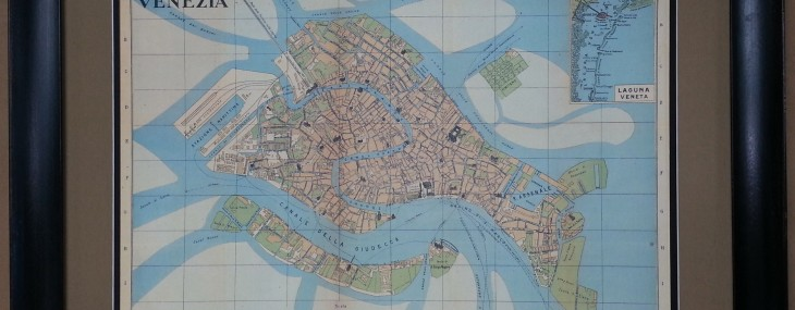 Beautifully Framed Antique Map of Venice