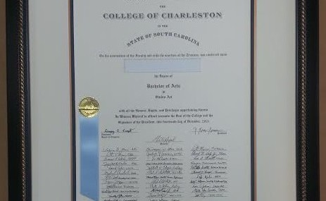 College of Charleston Diploma Frame!