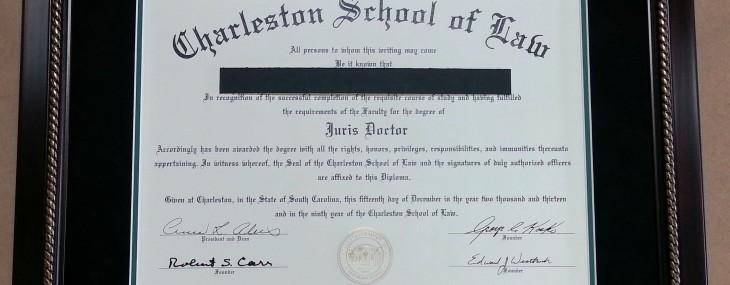 Charleston School of Law Diploma!