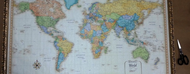 20 august 2014 large framed world map