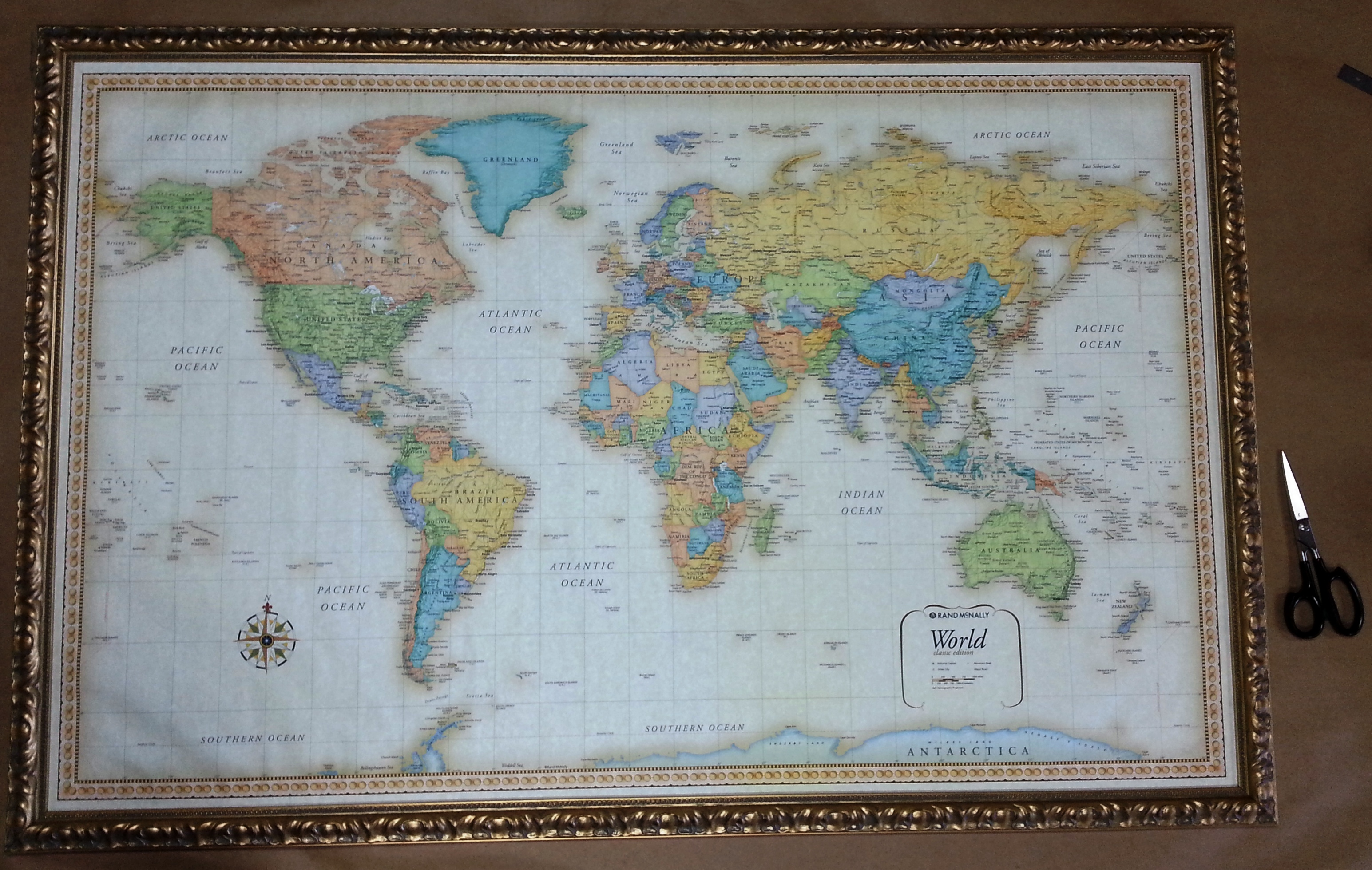 Large framed world map columbia frame shop large framed world map gumiabroncs Gallery