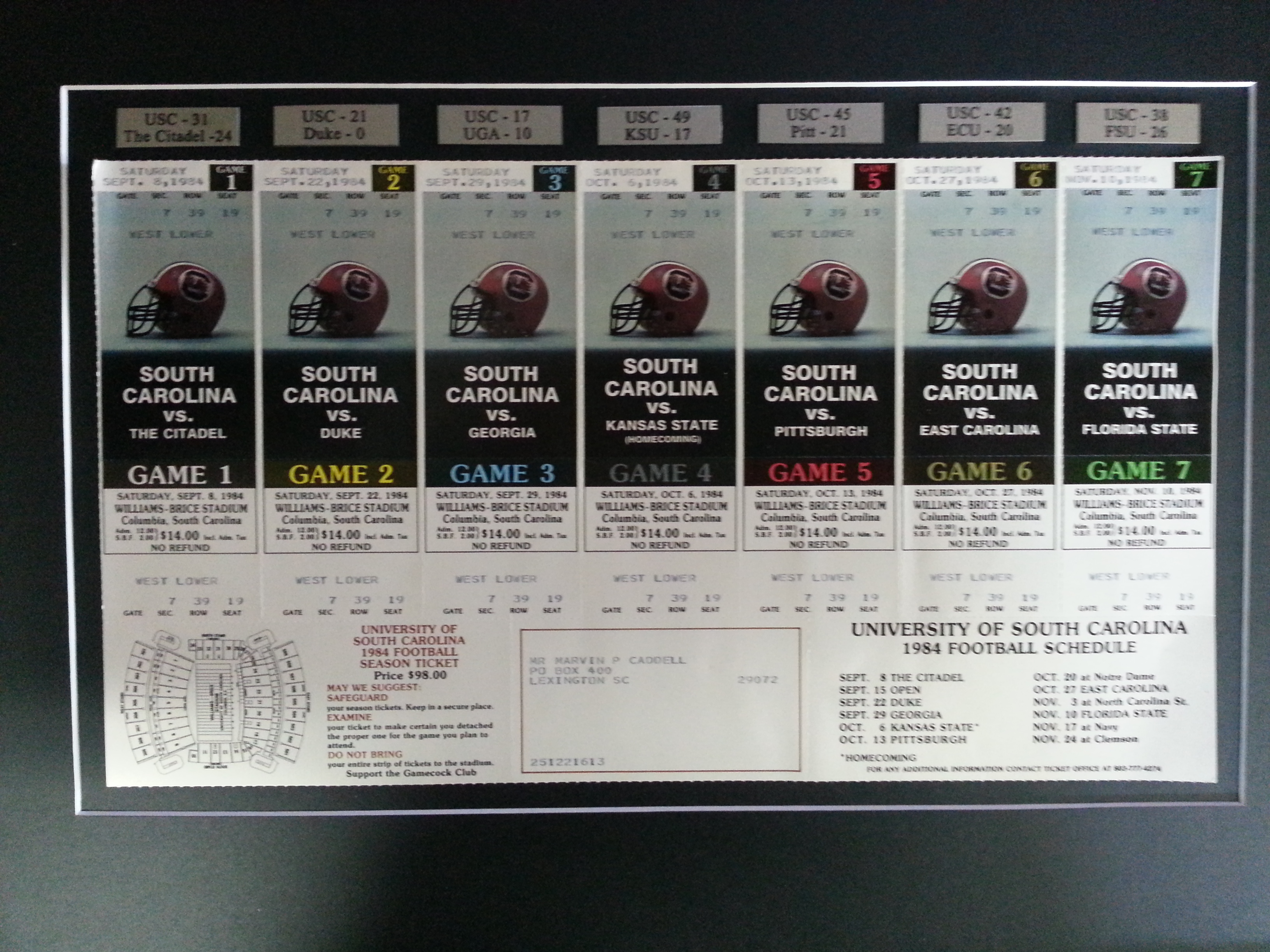 Framed 1984 Gamecock Football Season Tickets Columbia Frame Shop