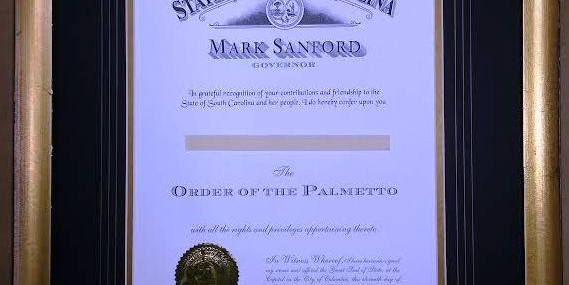 Framed Order of the Palmetto!
