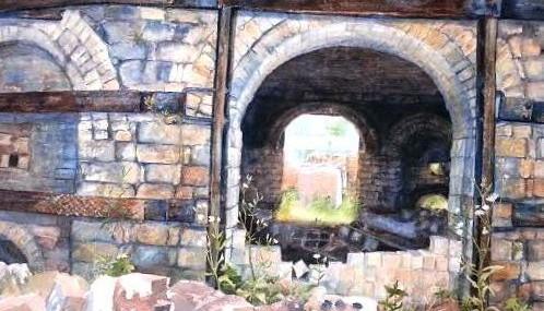 Framed Watercolor of Brick Kilns!