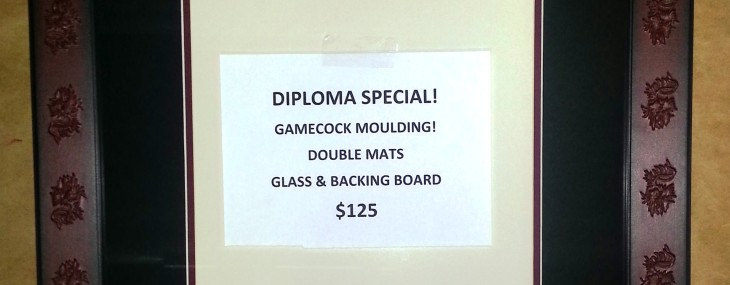 Diploma Sale Almost Over! $125 for Gamecock Frame