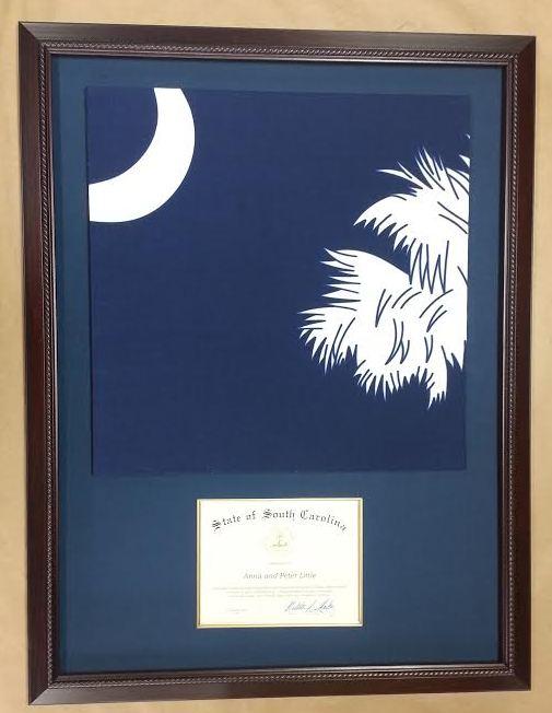 Framed SC Flag and Certificate! – Columbia Frame Shop