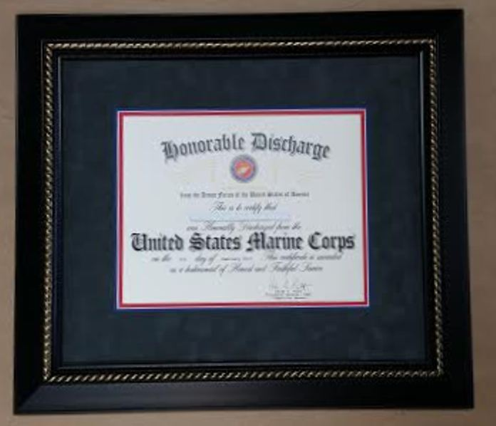 Framed Honorable Discharge Certificate Made In The Usa