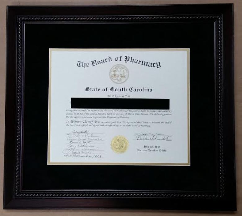 Framed State Board of Pharmacy Certificate! – Columbia Frame Shop