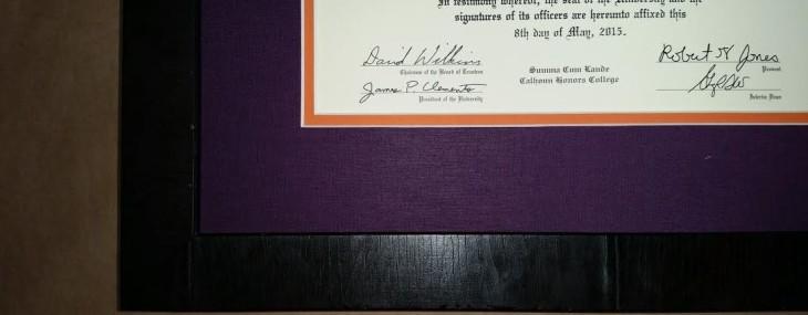 Framed Clemson Diploma!