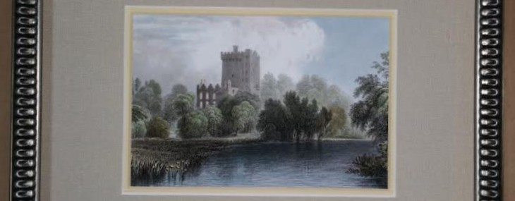 Framed Blarney Castle Miniature Hand-colored Engraving!