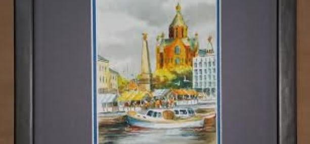 Framed Helsinki Miniature Watercolor!