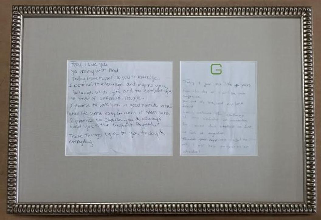Framed Wedding Vows Front And Back Framing Columbia Frame Shop