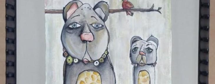 Framed Whimsical Dogs by Melinda Edwards!