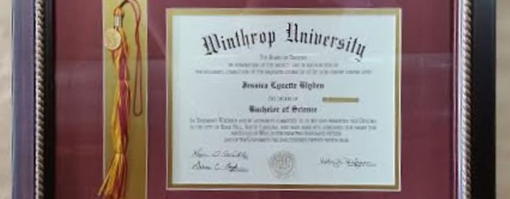 Framed Winthrop Diploma! (with tassel)
