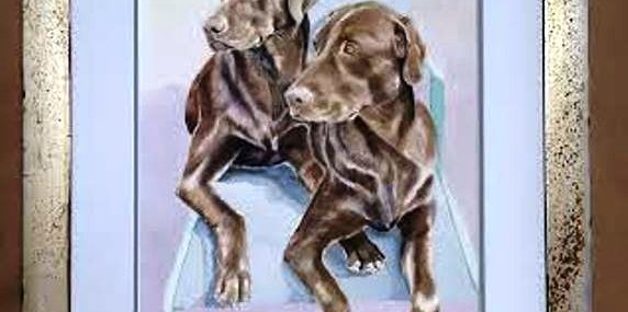 Framed Watercolor of Chocolate Labradors!