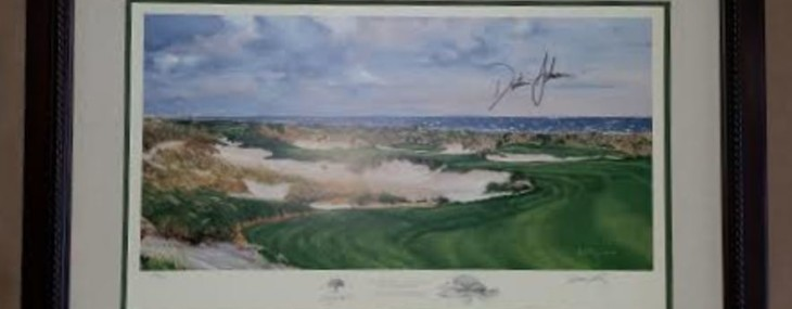 Autographed Dustin Johnson Kiawah Golf Print!