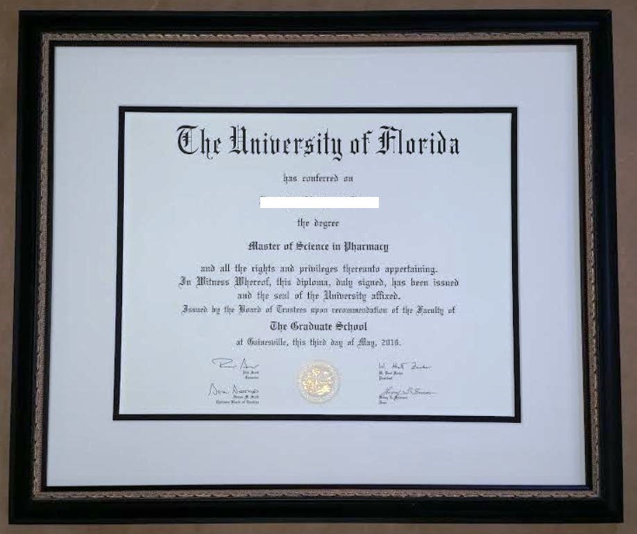University Of Florida Diploma Columbia Frame Shop