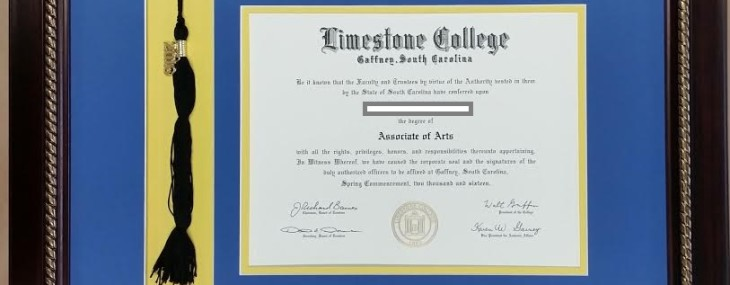 Framed Limestone Diploma! With Tassel! Made in the USA!