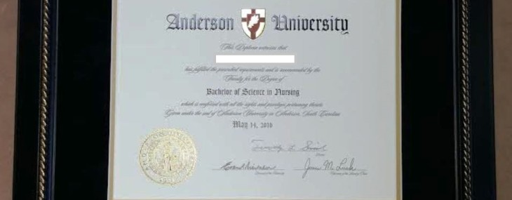 Anderson University Diploma Frame!