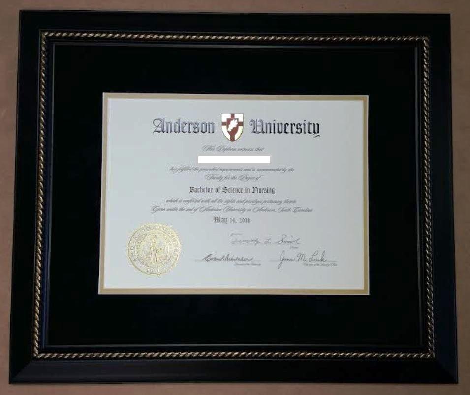 Anderson University Diploma Frame Columbia Frame Shop