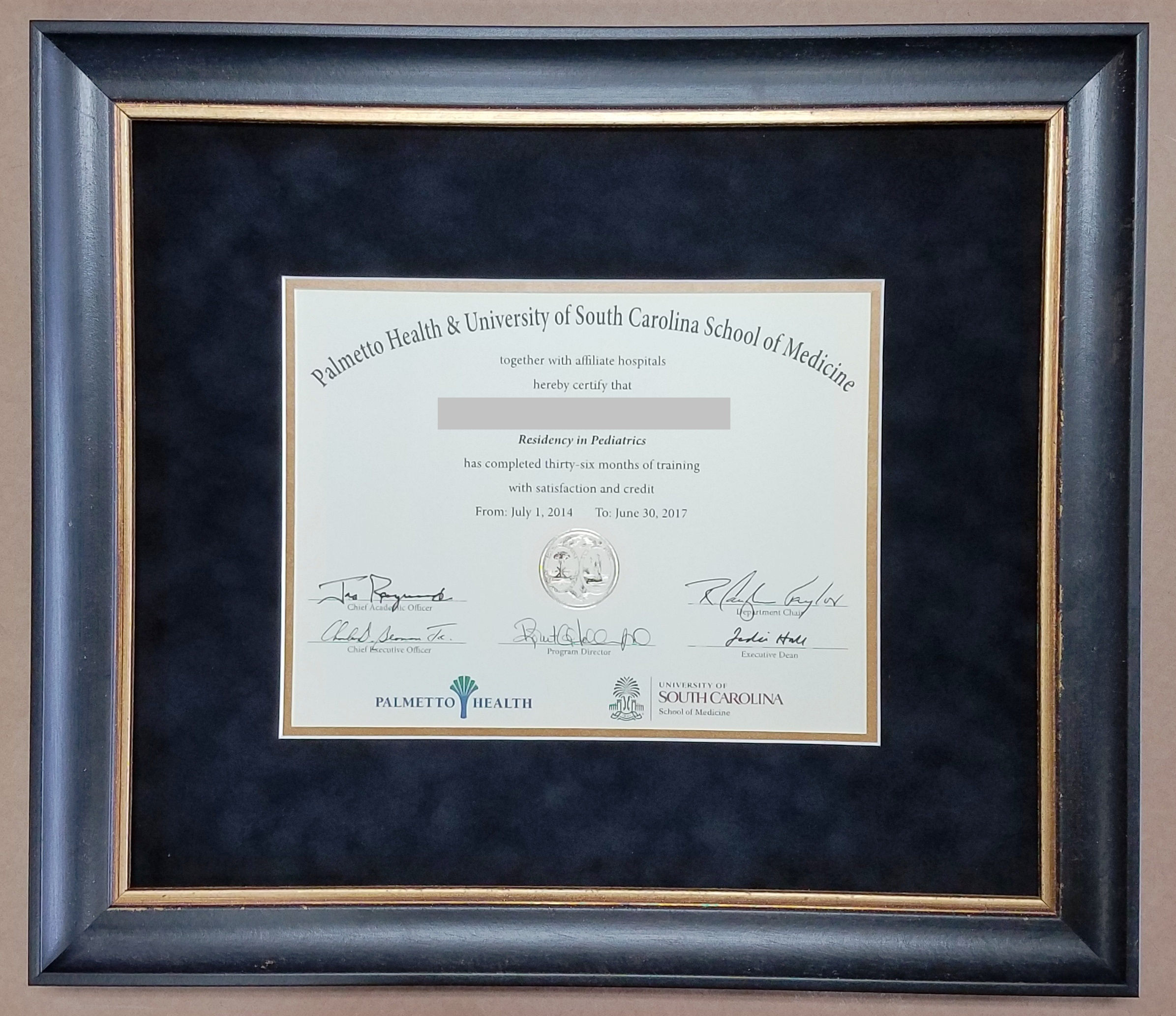 Certificate Frame – Columbia Frame Shop