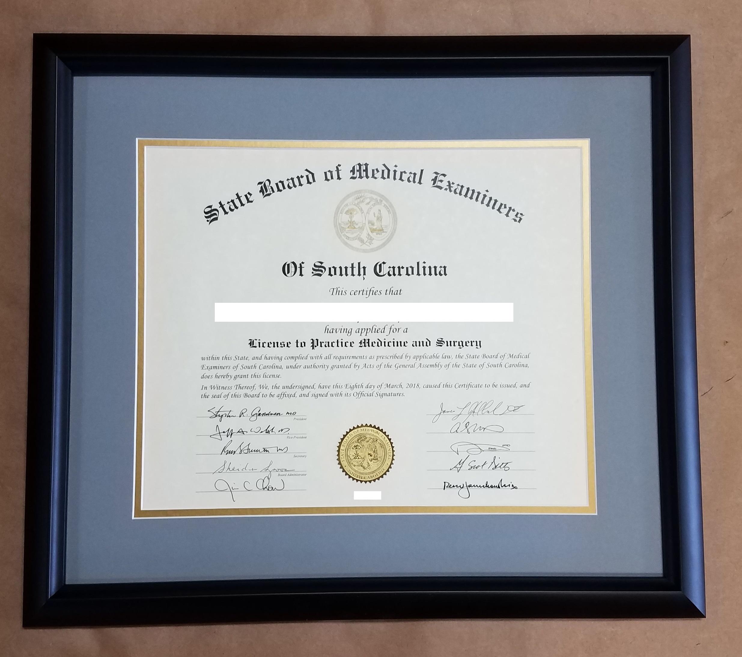 Certificate Frame – Columbia Frame Shop