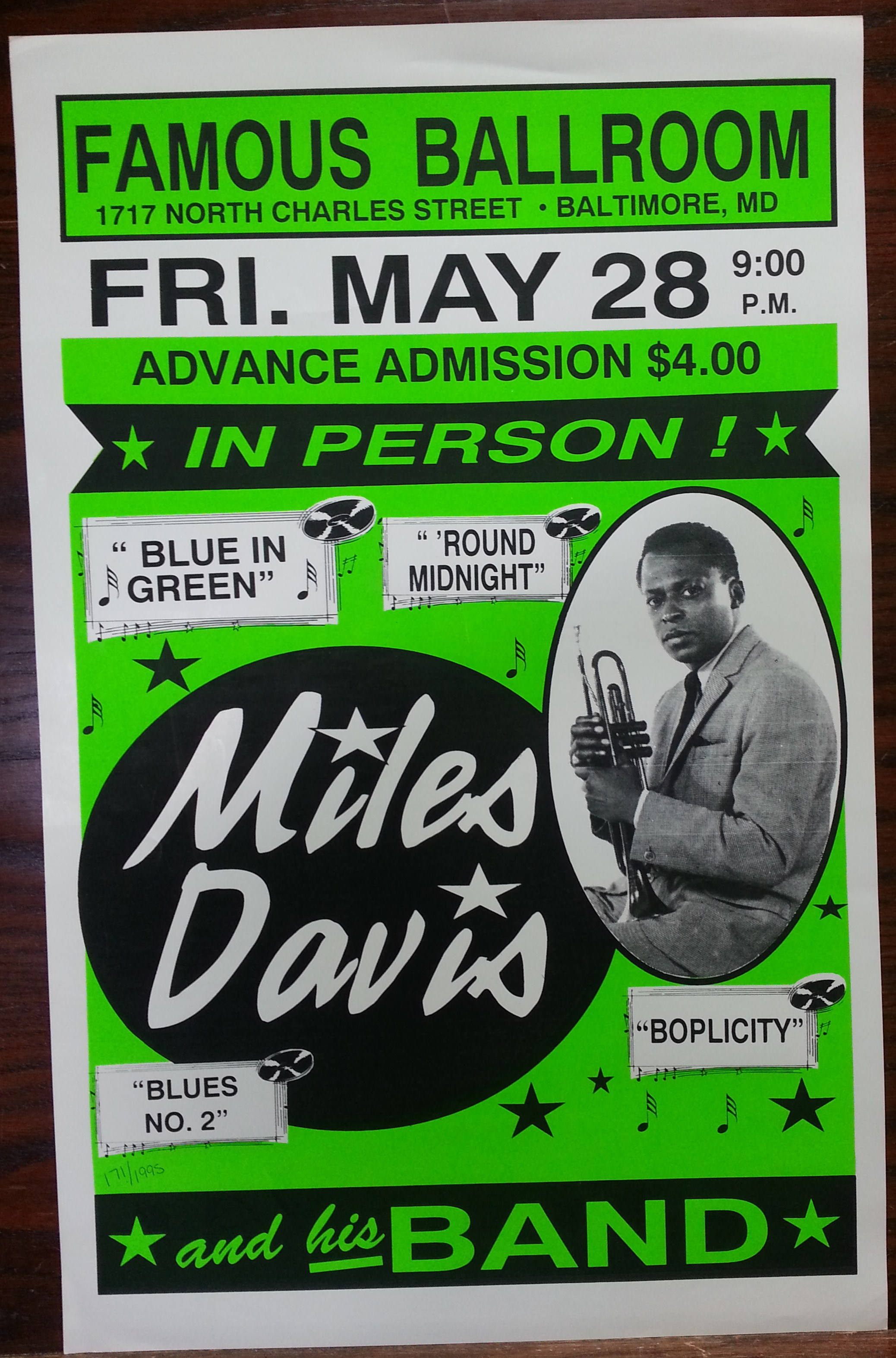 Miles Davis Concert Poster Reproduction Columbia Frame