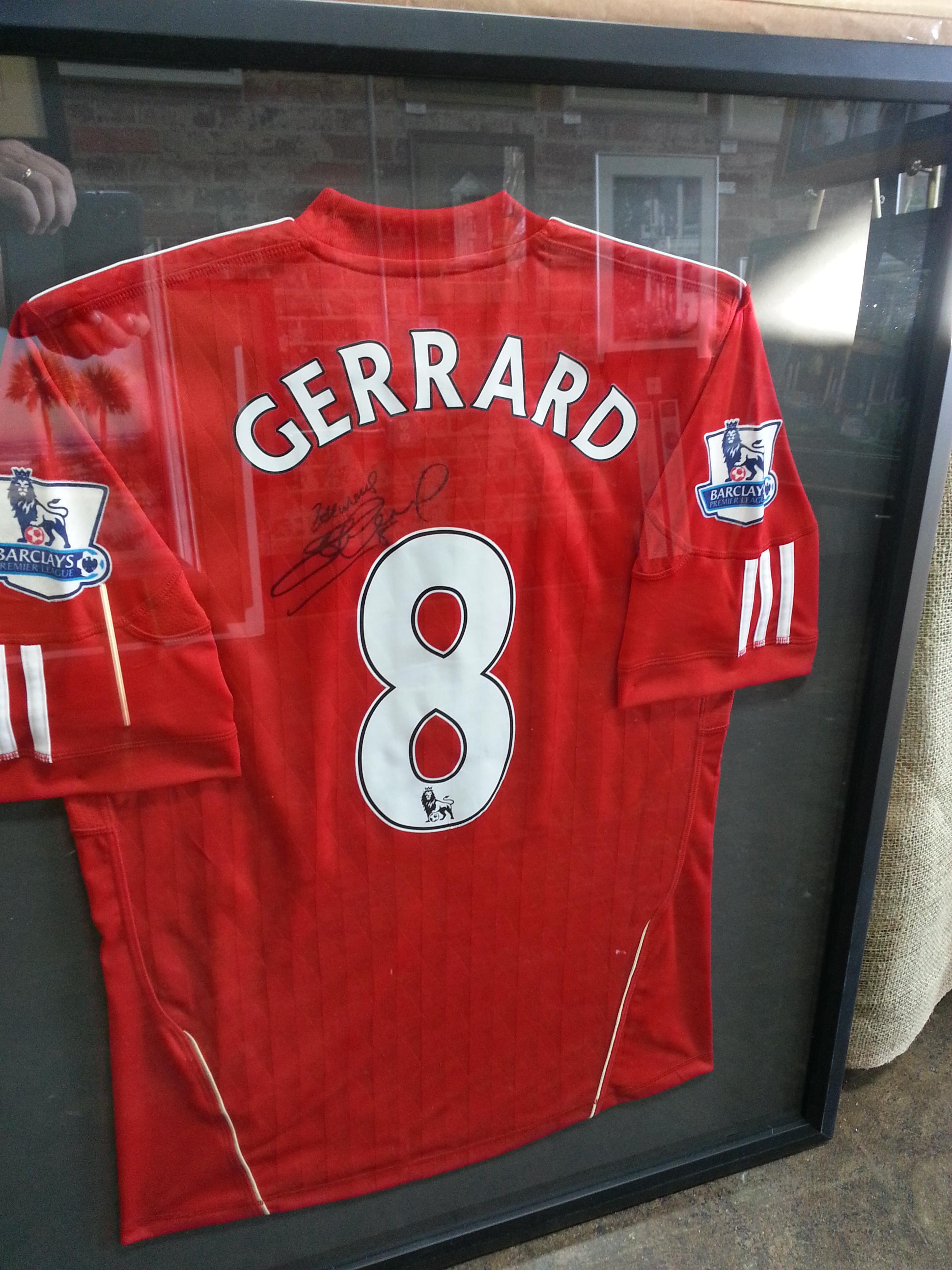 Framed Steven Gerrard Liverpool Jersey Columbia Frame Shop