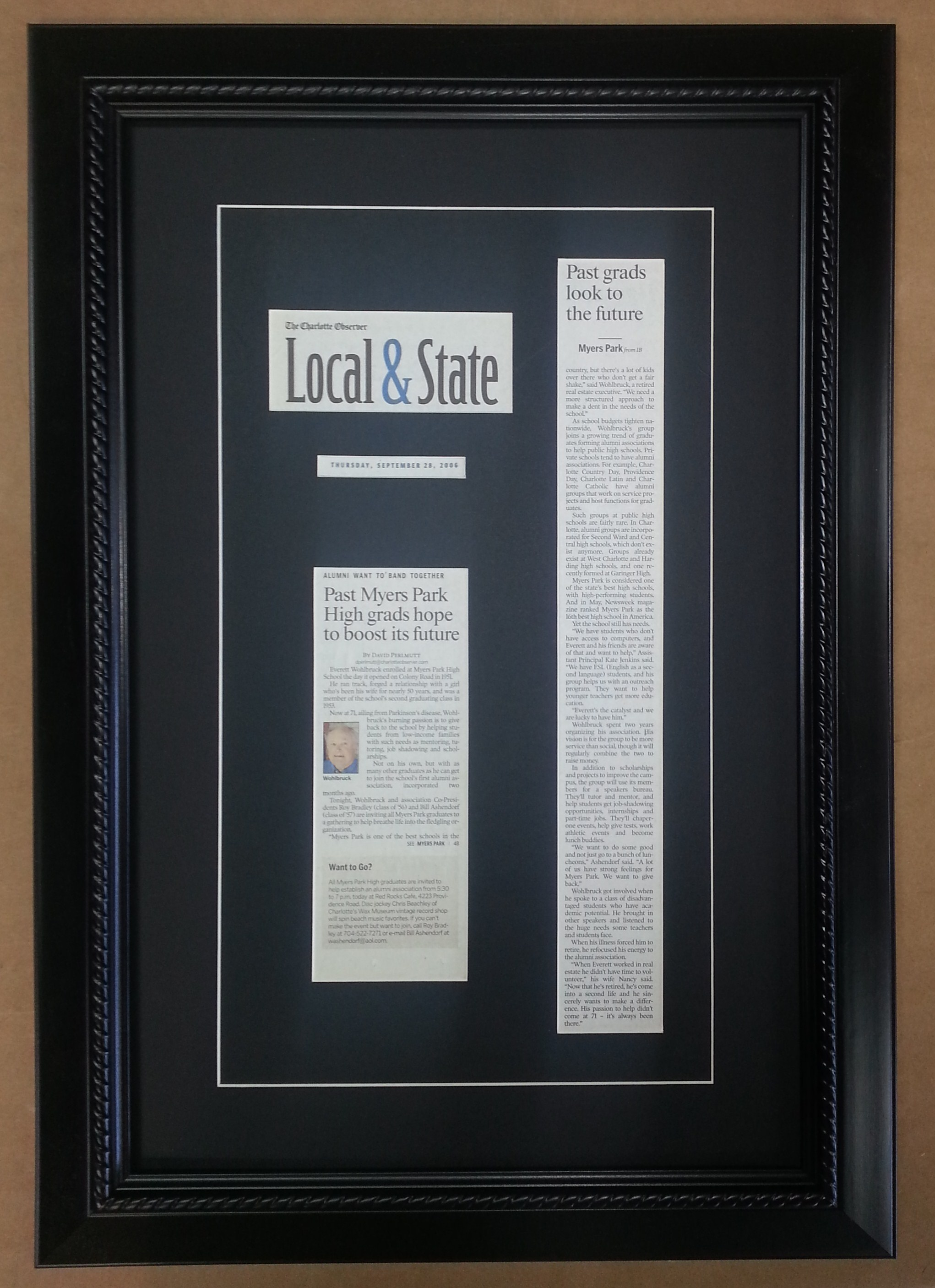 Framed Newspaper Columbia Frame Shop