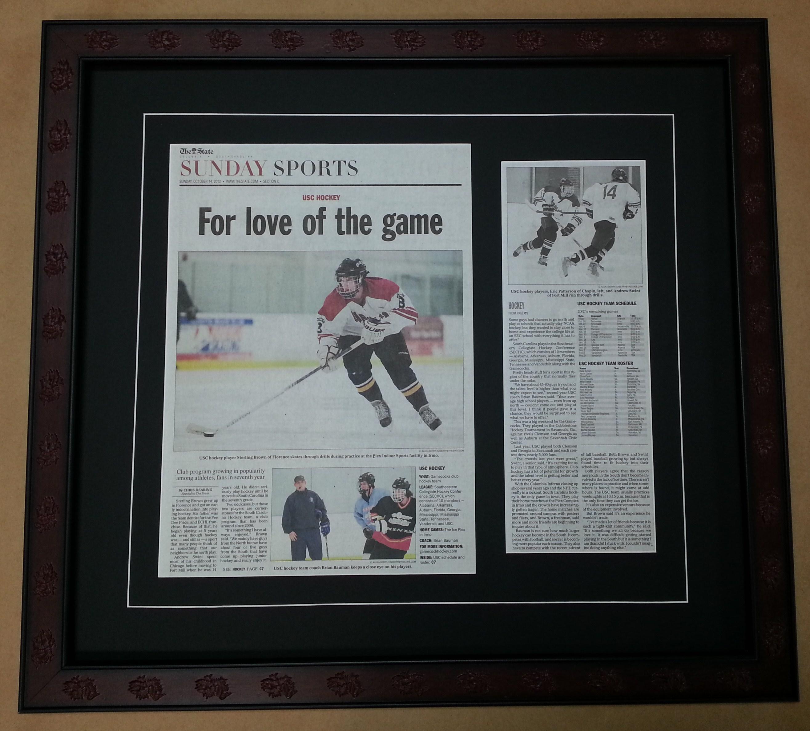 Framed Newspaper Article Columbia Frame Shop