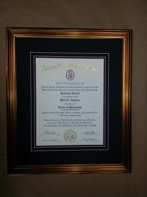 Framed Diploma Columbia Frame Shop