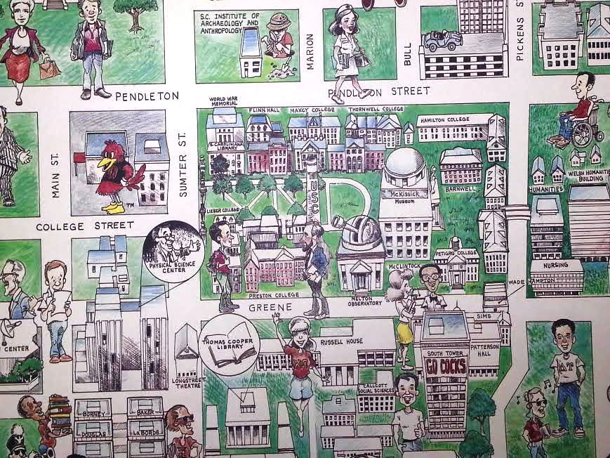 Usc Columbia Map Old USC Caricature Map! – Columbia Frame Shop