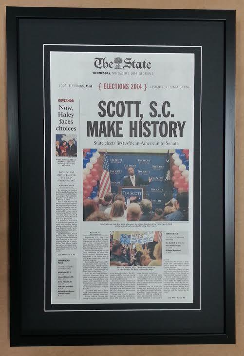 Framed Newspaper Columbia Frame Shop