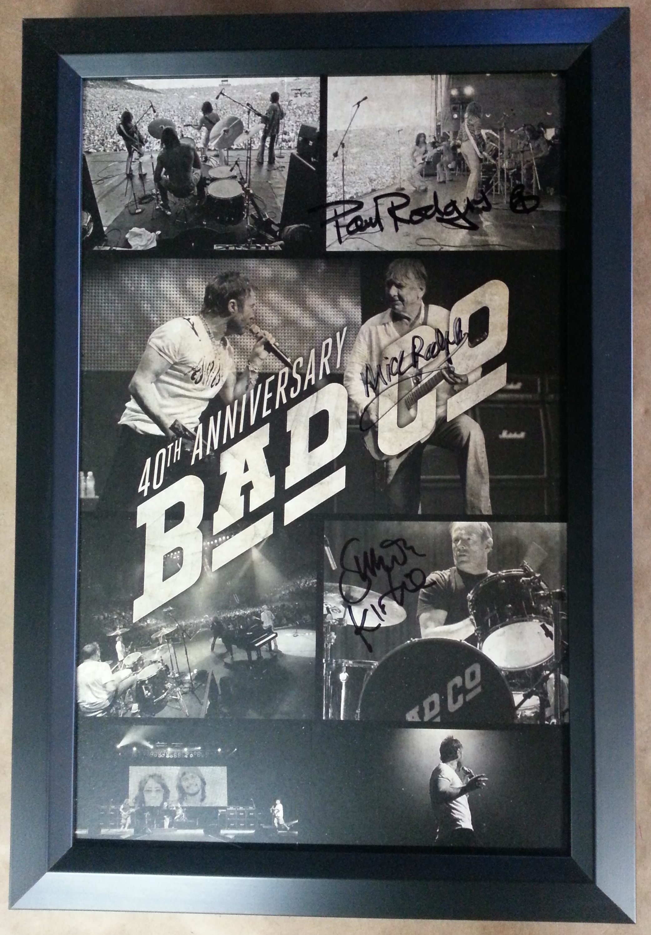 Framed Bad Company Poster Autographed Columbia Frame Shop