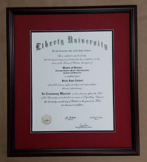 Framed Liberty University Diploma Columbia Frame Shop